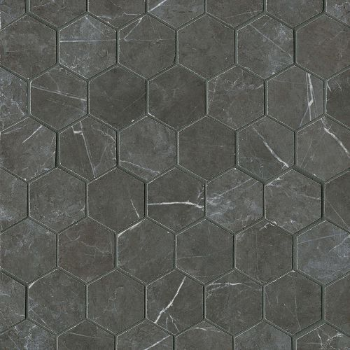 "Troy 2"" x 2"" Floor & Wall Mosaic in Nero"