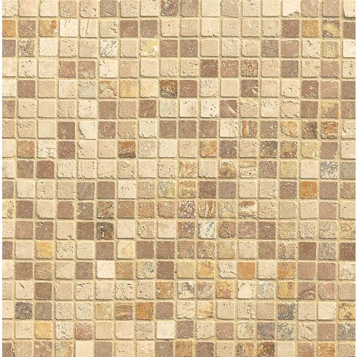 "Travertine Mosaic Blend 3/4"" x 3/4"" Floor & Wall Mosaic"