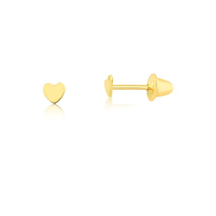 f58bce0c33aee Brinco coração em ouro amarelo18K