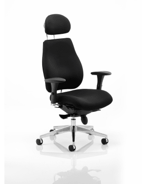 Chiro Plus 'Ergo' Posture Chair with Arms and Headrest, Black