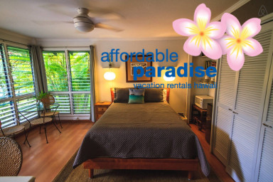 large tropical bedroom with private entrance