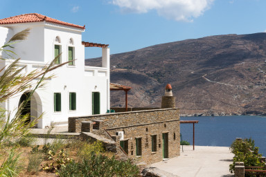 The property is built on a hill overlooking the bay or Korthi