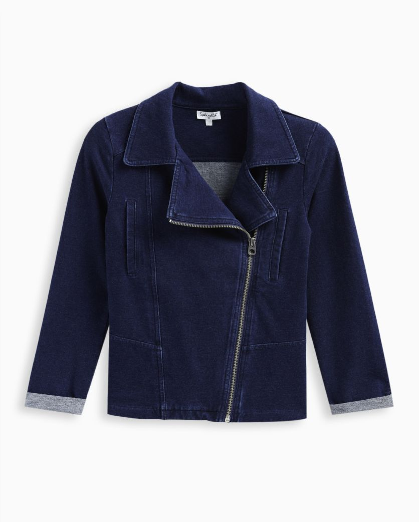 Girl Indigo Denim Moto Jacket