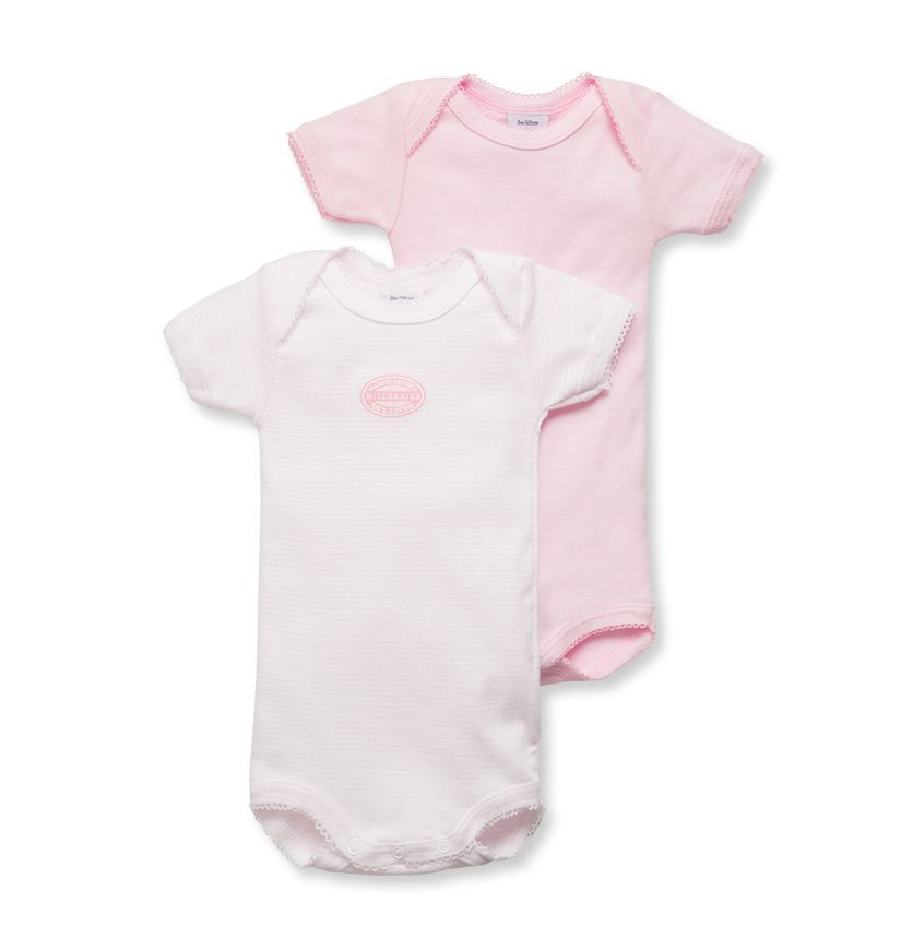 Pack of 2 baby girl short-sleeve plain/milleraies striped bodysuits.