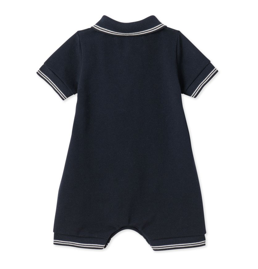 Baby boys' short dungaree in piqué jersey