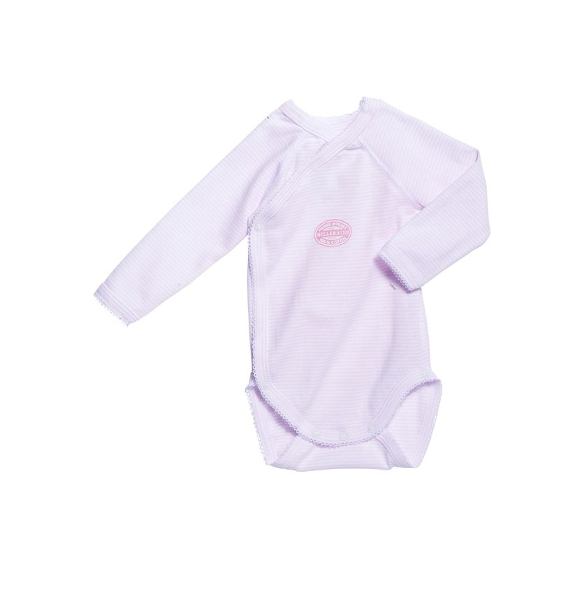 Newborn baby girl long-sleeve bodysuit in milleraies stripe