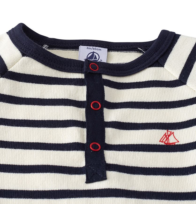 Baby boys' dungaree in striped heavy jersey