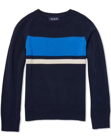 Boys Long Sleeve Chest-Stripe Sweater