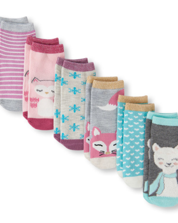 Toddler Girls Critter And Printed Midi Socks 6-Pack