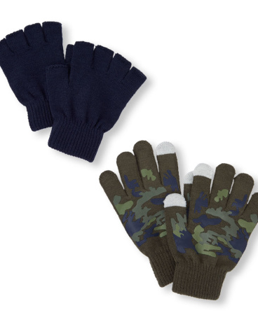 Boys Camo Printed Texting And Solid Fingerless Gloves 2-Pack