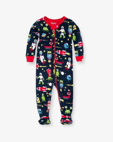 Space Aliens Organic Cotton Baby Footed Coverall