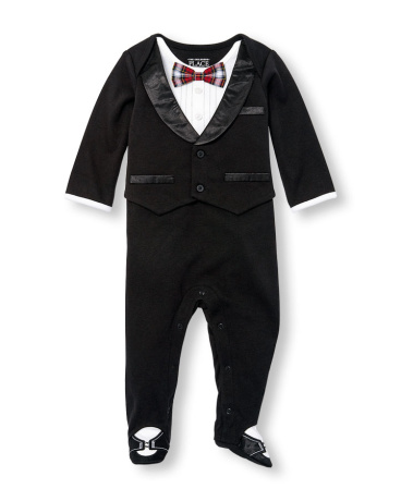 Baby Boys Layette Long Sleeve Tuxedo Footed Coverall