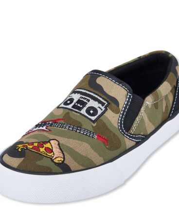Boys Patch Camo Print Slip-On Rockstar Sneaker