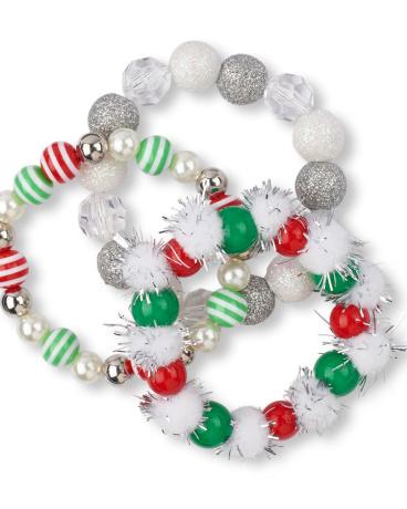Girls Holiday Striped Beaded Bracelet 3-Pack