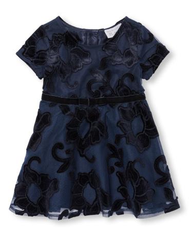 Toddler Girls Velvet Floral Lace Dress