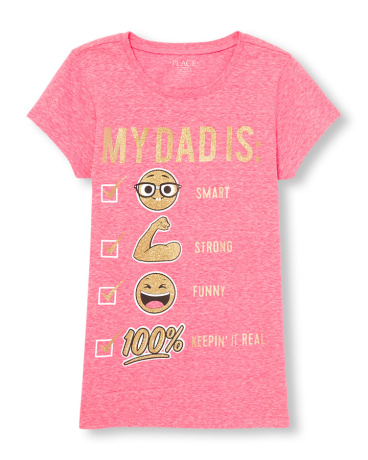 Girls Short Sleeve Glitter 'Dad Is Smart Strong Funny Keepin' It Real' Emoji Checklist Neon Graphic Tee