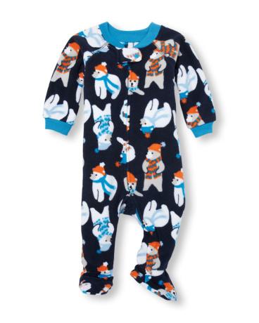 Baby And Toddler Boys Long Sleeve Polar Bear Print Footed Blanket Sleeper