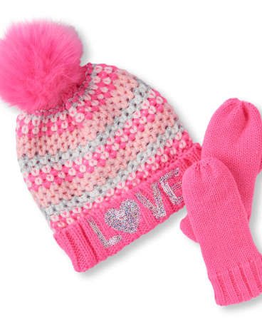 Toddler Girls Sequined 'Love' Fair Isle Stripe  Pom Pom Beanie And Mittens Set