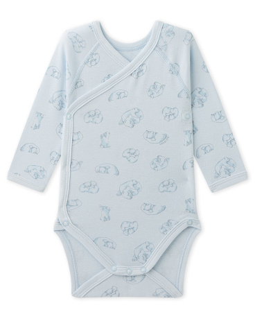 Newborn baby boy's printed bodysuit