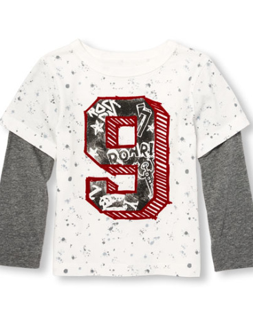 Toddler Boys Long Sleeve Printed Graphic Faux Layered Top