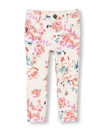 Toddler Girls Floral And Bird Print Knit Jeggings