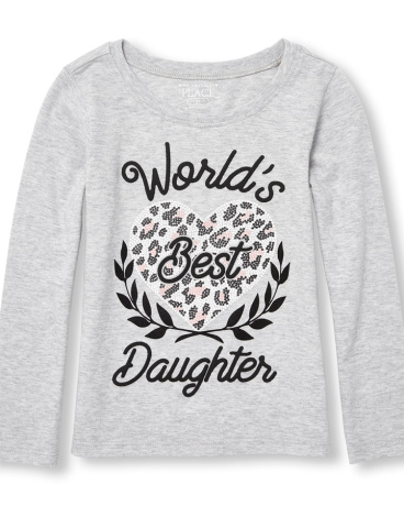 Toddler Girls Long Sleeve 'World's Bert Daughter' Heart Puff Graphic Tee