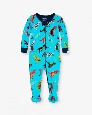 Roaring T-Rex Organic Cotton Baby Footed Coverall