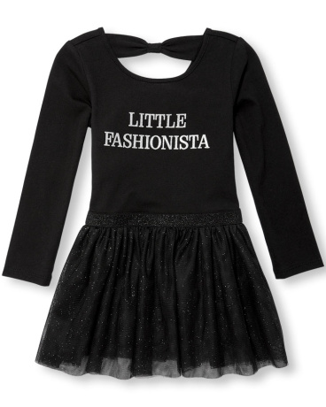 Toddler Girls Long Sleeve Glitter 'Little Fashionista' Bow-Back Knit-To-Woven Tutu Dress