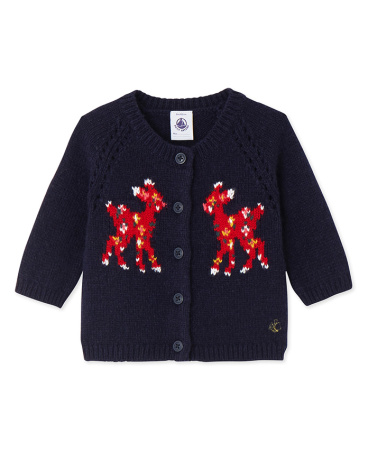 Baby girl's wool blend jacquard cardigan