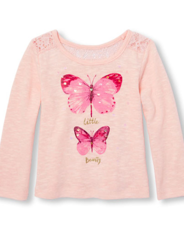 Toddler Girls  Long Sleeve Embellished Graphic Lightweight Sweater Knit Top