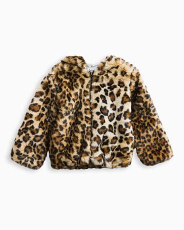 Little Girl Leopard Faux Fur Hoodie