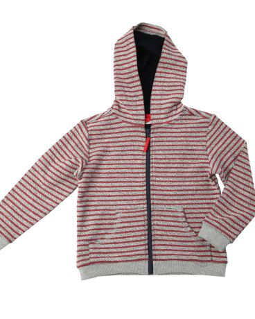 Red Stripe French Terry Zip Hoodie