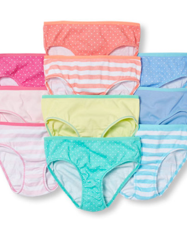 Girls Striped Briefs 10-Pack