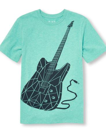 Boys Short Sleeve Geometric Electric Guitar Graphic Tee