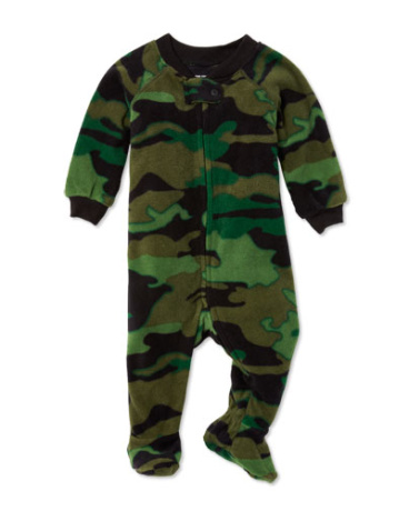 Baby And Toddler Boys Long Sleeve Camo Print Footed One-Piece Sleeper
