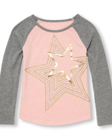 Girls Active Long Raglan Sleeve Embellished Graphic Top