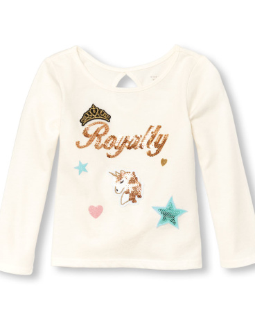Toddler Girls Long Sleeve Sequin Graphic Patch Top