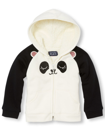 Toddler Girls Long Sleeve Panda Full-Zip Hooded Sweatshirt