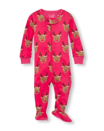 Baby And Toddler Girls Long Sleeve Reindeer Printed Footed Stretchie