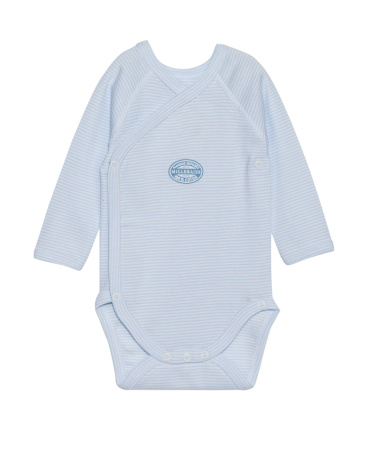 Newborn baby boy long-sleeve bodysuit in milleraies stripe
