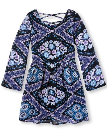 Girls Long Bell Sleeve Printed Woven Dress