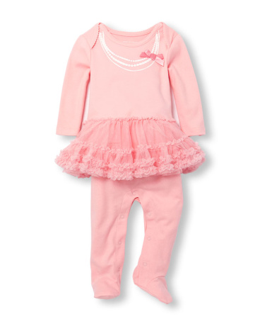 Baby Girls Layette Long Sleeve Glitter Pearl Tutu Footed Coverall