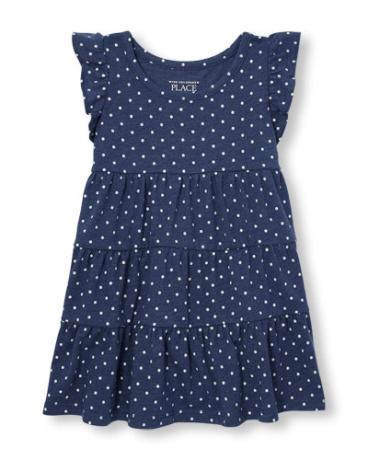 Toddler Girls Short Ruffle Sleeve Printed Tiered Knit Dress