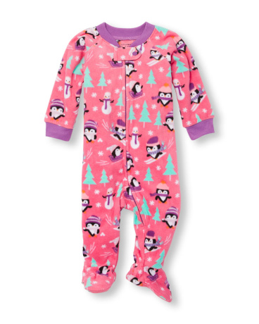 Baby And Toddler Girls Long Sleeve Snow Penguin Print Footed Blanket Sleeper