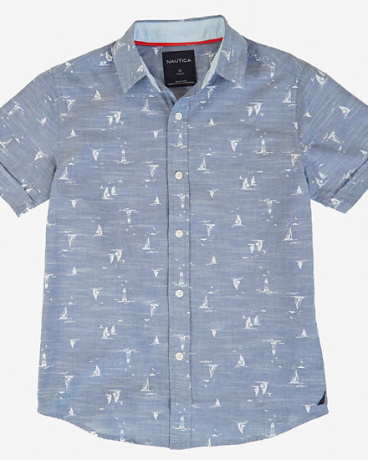 Little Boys' Chambray Allover Sailboat Shirt (2T-7)