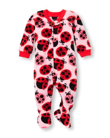 Baby And Toddler Girls Long Sleeve Ladybug Printed Footed Blanket Sleeper