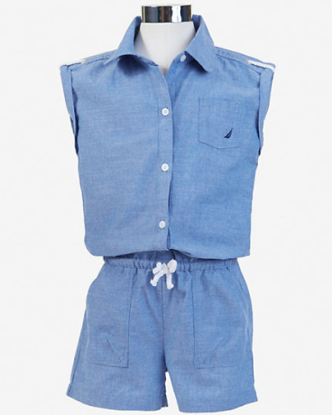 Little Girls' Chambray Sleeveless Romper (2T-7)