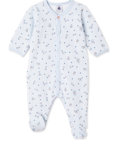Baby boys' print velour sleepsuit