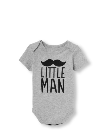 Baby Boys Daddy And Me Short Sleeve 'Little Man' Mustache Matching Graphic Bodysuit