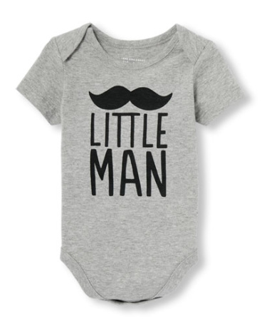 Baby Boys Daddy And Me Short Sleeve 'Little Man' Mustache Graphic Bodysuit